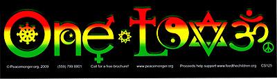 ONE LOVE rasta with symbols BUMPER STICKER religious tolerance bob marley reggae