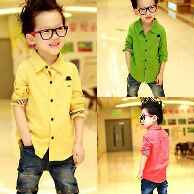 Kid Boy Clothes Long Sleeve Casual Shirt Toddler Button Down Cotton Shirts Tops