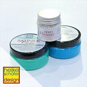 Satiniercreme-in-Gruen-und-Blau-je-100g-Deko-Flimmer-Mix-Neu-Heike-Schaefer