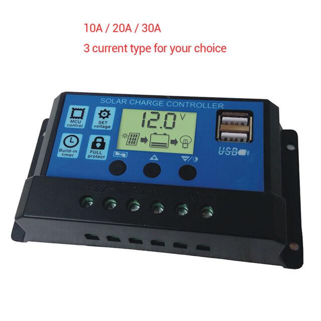 10/20/30A Amp Solar Panel Battery Regulator Charge Controller 12/24V Auto USB