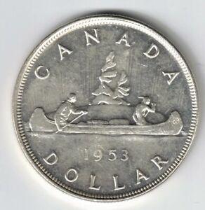 CANADA-1953-NSF-VOYAGEUR-SILVER-DOLLAR-QUEEN-ELIZABETH-II-CANADIAN-SILVER-COIN