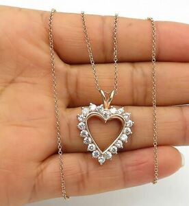 925 Silver - Cubic Zirconia Rose Gold Plated Love Heart Chain Necklace - N2739