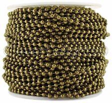 Ball Chain Roll - 30 Feet - Antique Bronze Color - 2.4mm Ball #3 - Bulk Spool