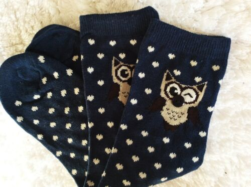 LADIES HIGH QUALITY GIFT SOCKS NAVY BLUE BUTTON NOSE WINKING EYED OWL