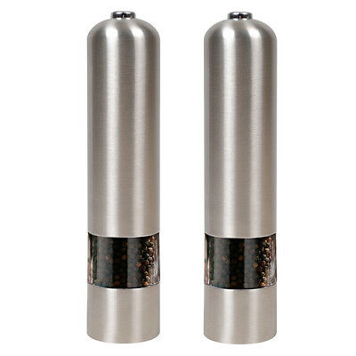 2 Stainless Steel/ABS Electric Electronic Salt Pepper Mill Grinder Pots Silver
