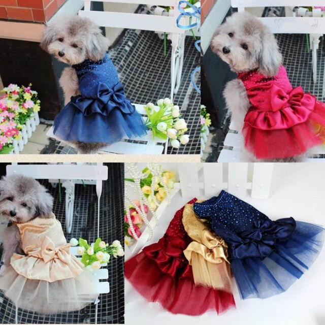 New Dog Pet Apparel Bow Tutu Wedding Party Puppy Princess Dress Skirt Clothes