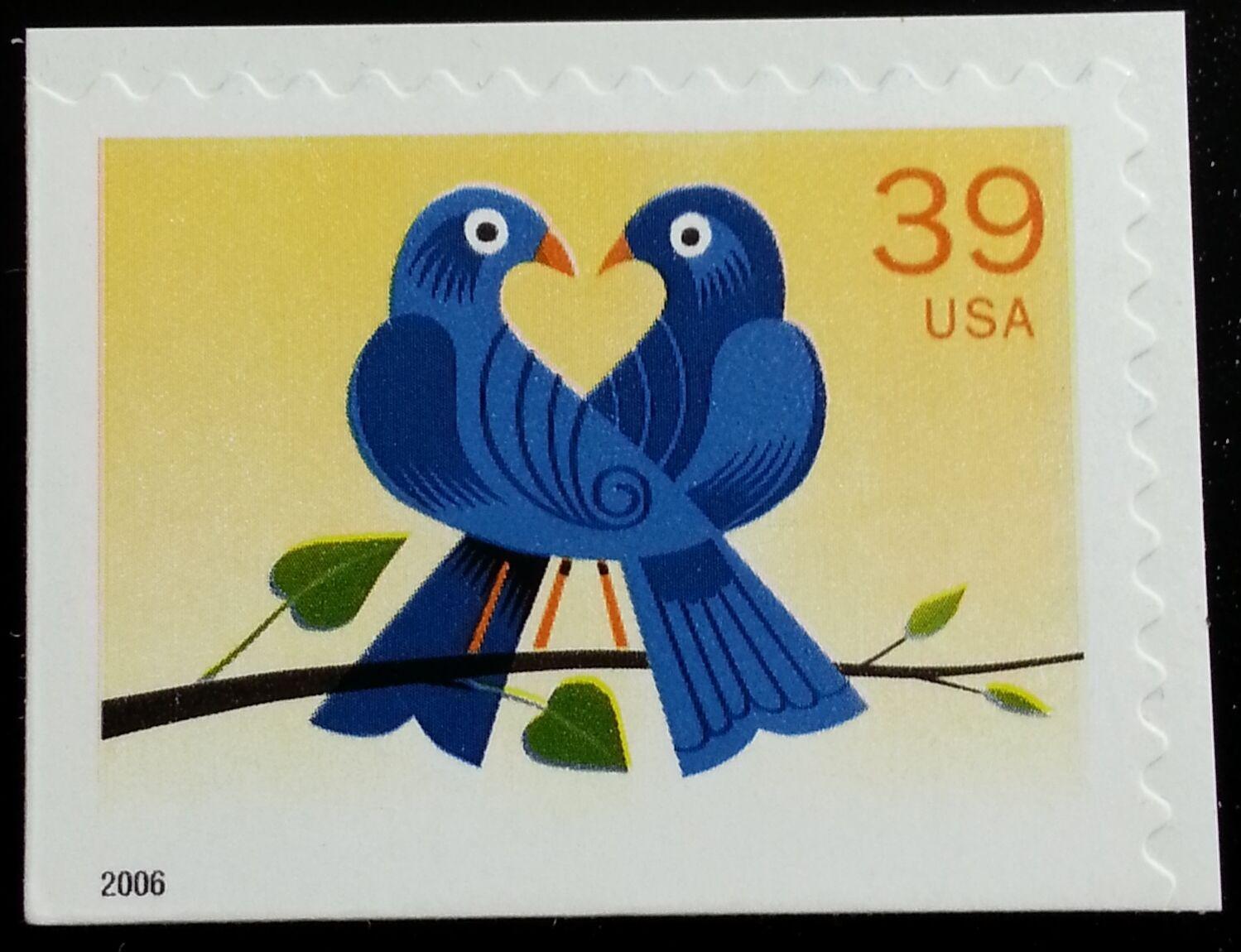 2006 39c Love, Birds, Booklet Single Scott 4029 Mint F/