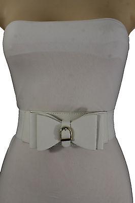 Women Big Ribbon Neck Tie Bow Buckle Elastic White Fashion Belt Beautiful S M