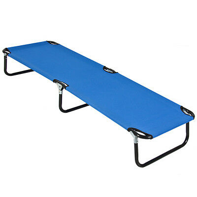 74in Portable Folding Camping Cot Guest Bed w/ Steel Frame - Blue