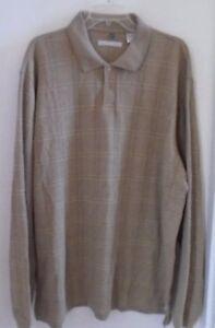 MEN-039-S-POLO-SHIRT-Long-Sleeves-Size-XXL-Greenish-Brown-Plaid-GEOFFREY-BEENE-Warm