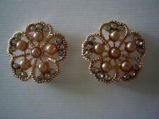 2 Hole Slider Beads Pearl Flowers Champagne Gold  Made W/ Swarovski  Elements #2
