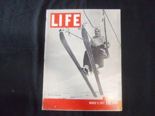 1937 MARCH 8 LIFE MAGAZINE - SUN VALLEY SKI LIFT - L 16