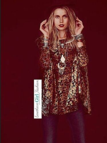 Free People Gypsy Junkies Noir Velvet Gold Floral Boho Tunic Top Dress M/L Rare by Free People
