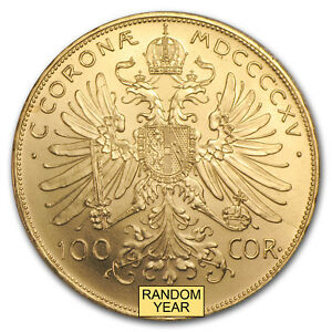 Austria-Gold-100-Coronas-Brilliant-Uncirculated-BU-Random-Year