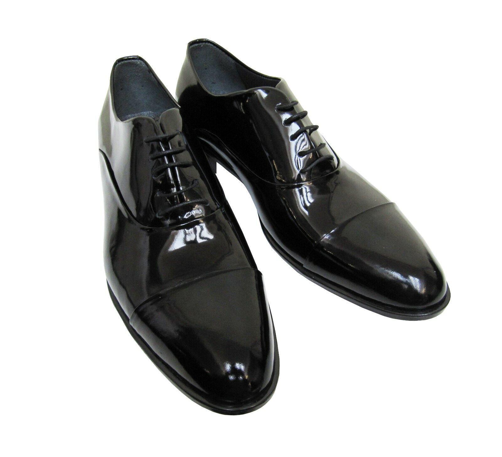 Herren Schuhe Echtleder Lack Gr.42 schwarz glänzend