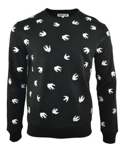 MCQ EMBROIDERED SWALLOW BLACK SWEATSHIRT JUMPER WHITE BIRD ALEXANDER MCQUEEN