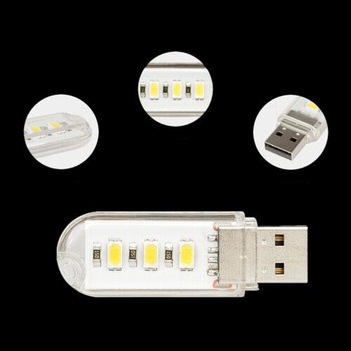 2X Mini USB LED lamp Book lights 3 LEDs 5730 SMD 1.5w Camping Bulb Nightlight Ze