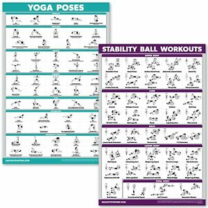 quickfit yoga poses and exercise ball workout posters