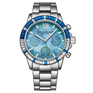 Stuhrling-3959-3-Quartz-Chronograph-Blue-Mother-of-Pearl-Bracelet-Womens-Watch