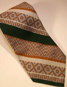Vintage-Memphis-Julius-Lewis-Polyester-Tie-By-Merritt-Cravats-Orange-Green-Blue