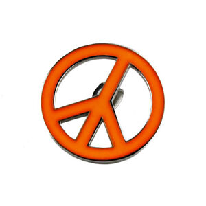 Lucien-Pellat-Finet-Silver-Neon-Orange-Peace-Ban-the-Bomb-Singular-Earring-Stud