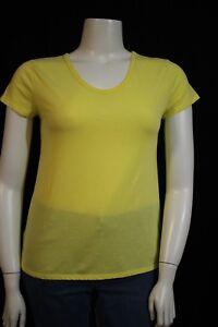 d10aa49998fb2 Merona Misses MEDIUM Bright Yellow Semi Sheer V-neck SS Shirt Top T ...