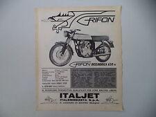 advertising Pubblicità 1966 MOTO ITALJET GRIFON 650