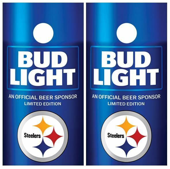 Bud Light   Pittsburgh  Steelers Cornhole Board Decal Wrap FREE Laminate  buy 100% authentic quality