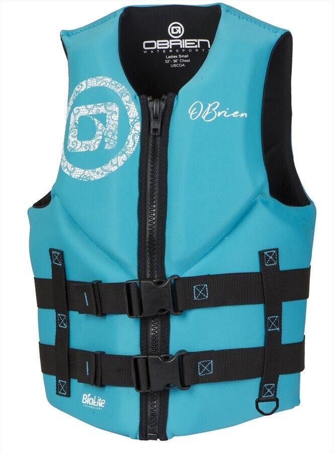 O'Brien Ladies Traditional Neo Watersports Ski Impact Buoyancy Vest Aqua 74839
