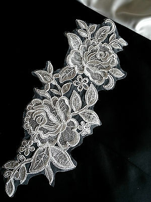 Large White Rose Embroidery Applique Motif Lace Trim (EB0137) L32cm x W13.5cm