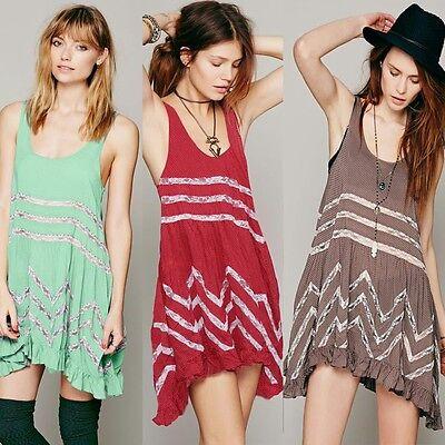 Scoop Neck Polka Dot Lace Insert Ruffled Women's Tank Dress Sundress Loose Fit