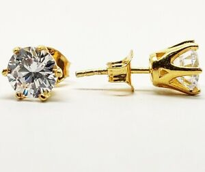 Yellow-gold-finish-solitaire-round-cut-created-diamond-stud-earrings