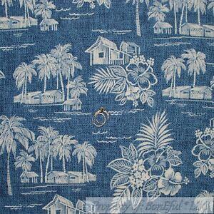 BonEful-Fabric-FQ-Cotton-Quilt-Scenic-Blue-Hawaiian-Tropical-Island-Toile-Ocean