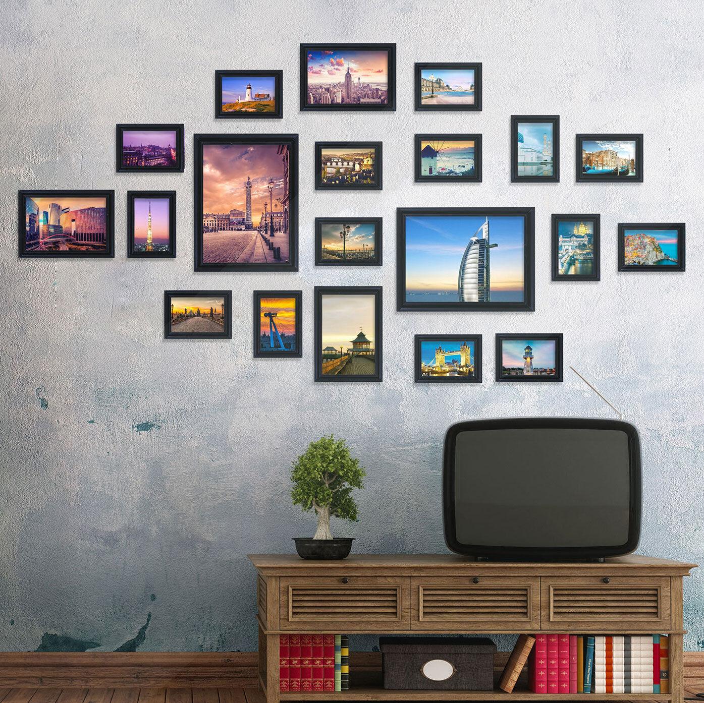 Conjunto de Fotos De Madera Negra recuerdos mejor decoración del hogar Fotos Cuadros 20PCS Collage