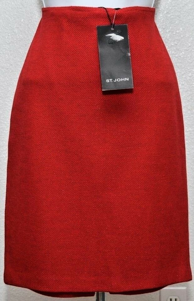 NWT ST.JOHN Couture Womens Red Metallic Shimmer Skirt Sz 6