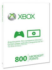 MICROSOFT X360 Live 800 points Card Sleeved IT IMPORT MICROSOFT