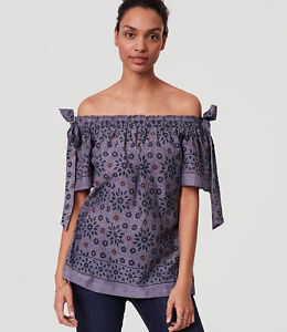 a03ef87cb1b3a NWT Ann Taylor LOFT painterly floral off the shoulder blouse Petite ...