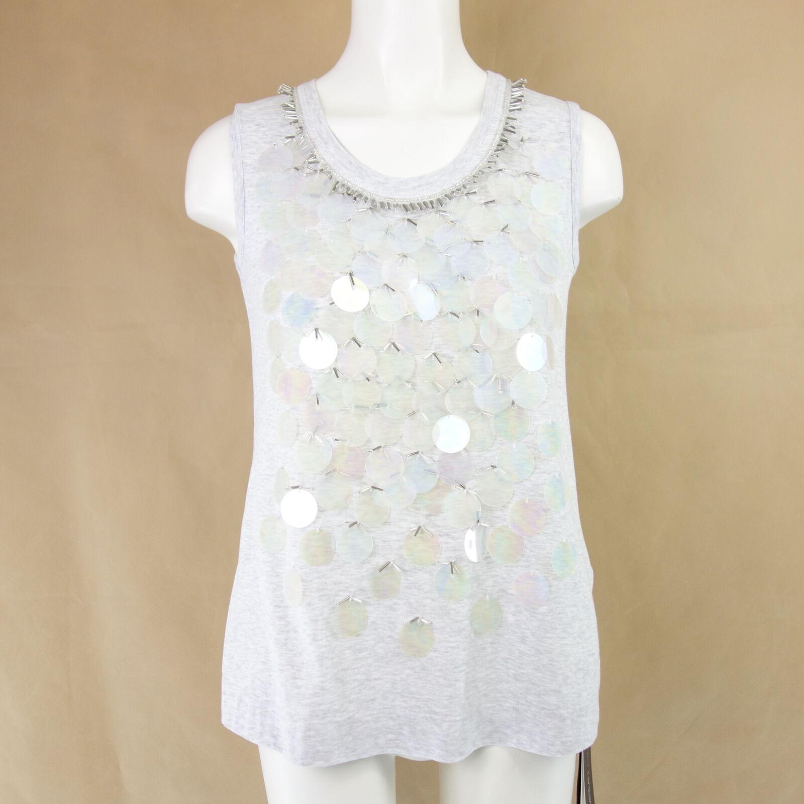 MARC CAIN Shirt Top GS6104 Gr N1 34 Grau Baumwolle Pailletten Damen NP 199 NEU