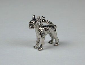 Sterling-Silver-Boston-Terrier-Dog-Charm-Free-U-S-Shipping-amp-Lobster-Clasp