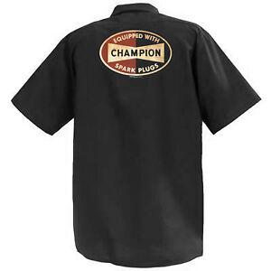CHAMPION-Spark-Plugs-MECCANICA-Graphic-Work-Shirt-a-Manica-Corta