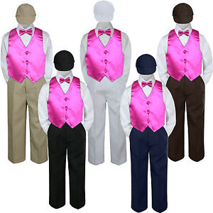 04781a939a Boys Baby Toddler Kids Fuchsia Hot Pink Vest Bow Tie Formal Set Suit ...