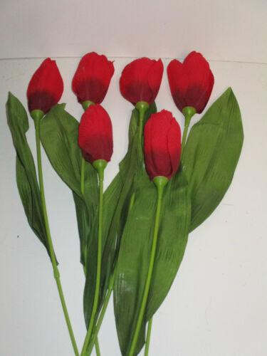 Dekoration 6 x Tulpen rot Tulpe Seidenblumen Tulpenstiel künstlich Deko wie echt