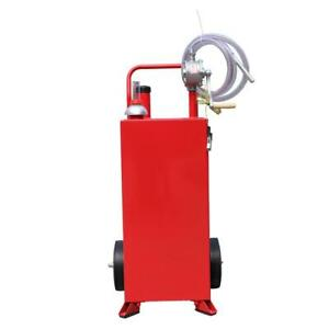 30-Gallon-Gas-Caddy-Tank-Storage-Drum-Gasoline-Diesel-Fuel-Transfer-w-10-034-Tires