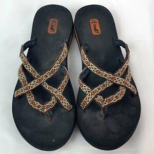 Teva Womens Size 8 Olowahu Mush 6840 Flip Flops Thong Sandals Orange Brown