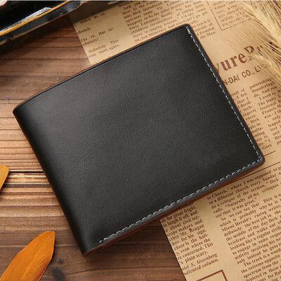 Black Mens Genuine Leather Bifold Wallet Credit/ID Card Coin Holder Purse Slim