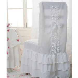 White Ruffle Romantic Chair cover Dining Room Chair Slipcover