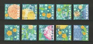 JAPAN-2018-FLOWERS-IN-DAILY-LIFE-BLENDING-INTO-MY-LIFE-82-YEN-10-STAMPS-USED