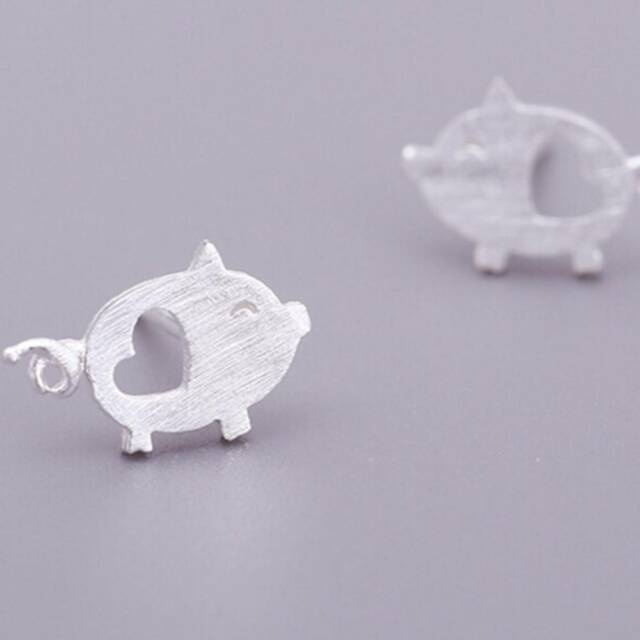 Pig Earring Gift Cute Fashion Piggy Women Jewelry Silver Color Animal Charm