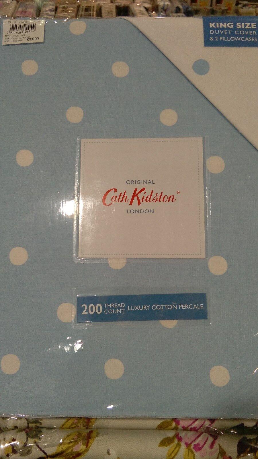 Cath Kidston 100% Cotton Blau Spot DOUBLE Duvet Cover + 2 Pillowcase