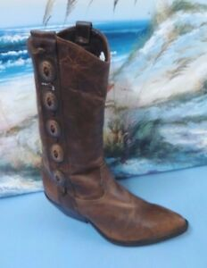 Vtg-Zodiac-Womens-Boots-Tall-Western-6-M-Dark-Brown-Leather-Pull-On-Conch-505220